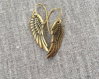 Gold wing earrings / Antique gold plated wings / Gold angel wings / Gold bird wings