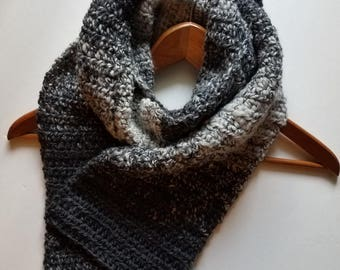 Women's Scarf, Crochet Scarf, Wool-Blend Scarf, Silver/Gray Winter Scarf, Fall Scarf
