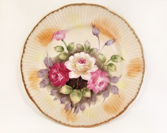 Vintage Handpainted Roses Display Plate Backstamp Meridian Japan, c1950's