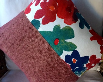 Cushion Cover Hemp Linen, Up-cycled Coffee Bean Bag, Autumn Flowers
