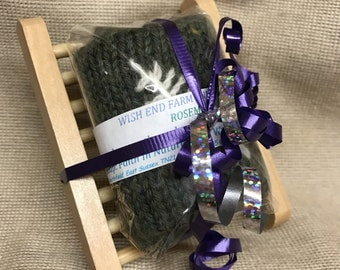 Organic Soap Gift Set, Rosemary, Wooden Soap Dish, Vegan Soap, Natural Soap, Teacher Gift, Gift For Her, Felted Soap, Handmade Soap