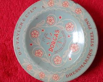 Vintage D.F.Tayler & Co Ltd Dorcas Dressmakers Steel Pin Box 1960s