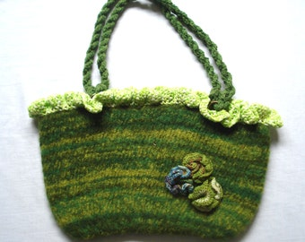 Knitted en felted green handbag with cotton lining and a popper, crochet flowers and fantasy top
