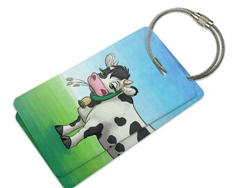Cow in a Field Suitcase Bag ID Luggage Tag Set
