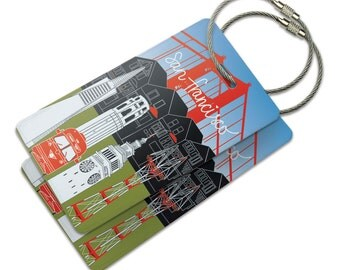 San Francisco Love Suitcase Bag Id Luggage Tag Set
