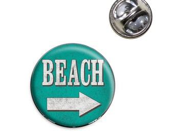 Beach Sign Vintage Lapel Hat Tie Pin Tack