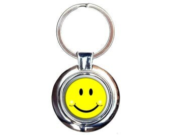 Happy Smiley Face Keychain Key Ring