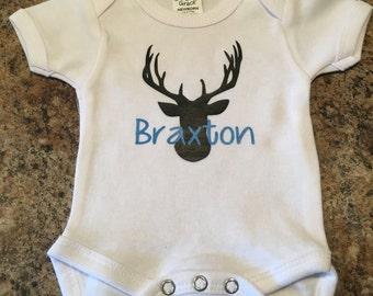 Custom deer with name or monogram onesie for baby.
