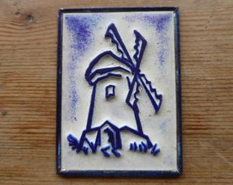 French Rubber Stamp on Metal Back, Ink Stamps, Windmill Design