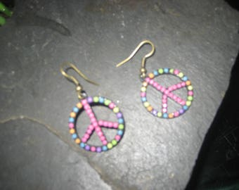 Colorful Peace Sign Earrings/Hippie Style Peace Earrings