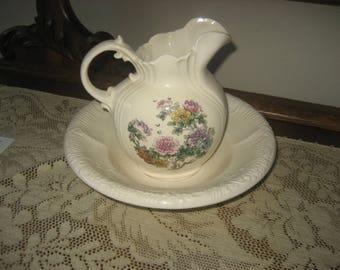 Hand Cast Etta's Porcelain Bowl & Pitcher /Oldtime Wash Basin Set