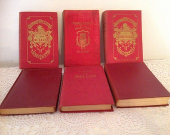 Vintage red book bundle, 6 red books, French red book bundle, set of 6 red books in french, Red decorative books