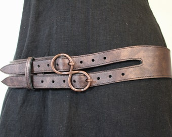 "copper leather ""infinite"" buckle belt"