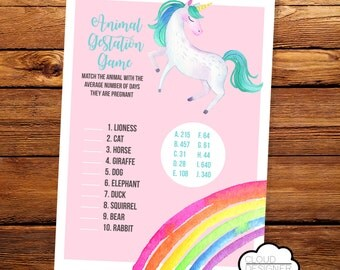 Animal Gestation Game with Answer Key // Unicorn Baby Shower Game // Printable