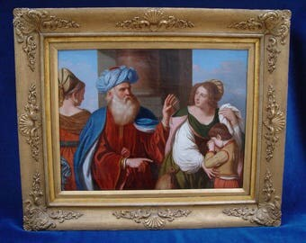 The Banishment of Hagar, antique oil painting dated about 1800