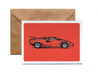 Greetings Card | Lamborghini Countach | Personalise | Classic | Vintage | Illustration