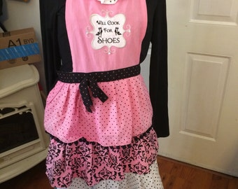 Handcrafted Pink Cotton Apron