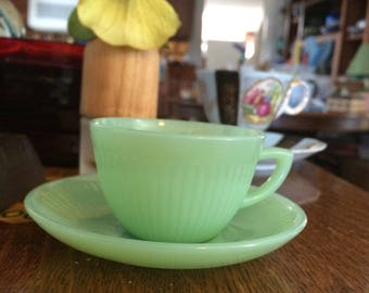 Rare Jadeite Jane Ray Fire King Demitasse Cup and Saucer