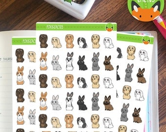 Rabbit Pet Bunny Stickers - Planner Stickers - Planner Accessories - Planner Decorations - ...