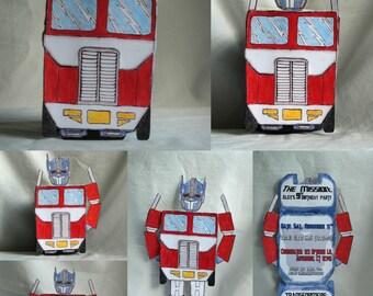 Transformers Birthday Invitation, Optimus Prime Theme Party Invite,  Kids Transformer Theme Party, Optimus Prime Invitations