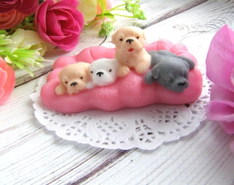 3d Mould Puppies Little Dogie 3d Silicone Mold Decorative doggies Mold for Soap 3d Flexible Resin Mold for Kids Soap Puppies on pillow Mold