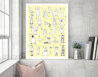 ABC Yellow Animal Nursery Printable Wall Decor,Alphabet children Yellow Nursery,Scandinavian,ABC Children Nursery Poster,ABC Baby Boy Girl