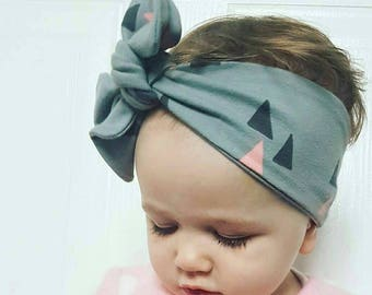 Baby Headband, Toddler, Girl Bow, Baby shower gift, Baby Turban, Knot Headband, Modern Baby, Baby Hairband, Grey and Pink, New Baby Gift