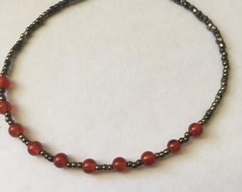 """Carnelian Beaded Bracelet 8"""""""