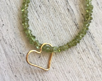 Peridot Beaded necklace with 14k gold filled heart 15.5""