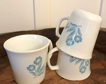 Vintage Corning Ware USA Pyrex White Glass Coffee Mugs with Cornflower Blue Floral Motif Set of 3