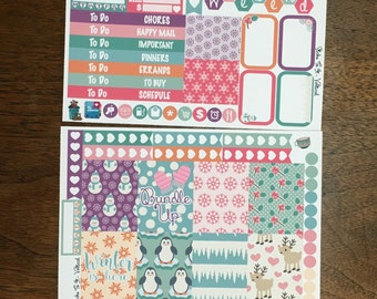 Pastel Christmas Mini Weekly Set Horz and Vert Planner Stickers - Full ECLP Mambi Inkwell Press Filofax Kikki K Holiday Winter