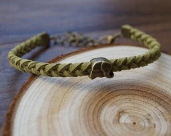 Olive Suede Elephant Braided Bracelet