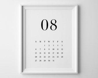 2017 Printable Calendar, Large Wall Calendar, Download Calendar, Calendar 2017, Minimalist Calendar, Black and White Calendar