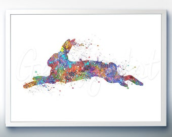 Rabbit Hopping Watercolor Art Print  - Home Living - Animal Painting - Rabbit Poster - Wall Decor - Home Decor - House Warming Gift