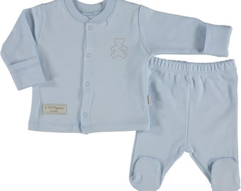 Organic Newborn footed pajamas, footed pants, baby boy pajamas,natural, blue pajamas (size 0-6 months)