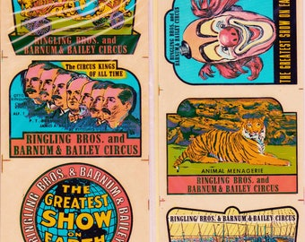 "6 Vintage Impko Ringling Bros. circus ""Souvenir"" decals. 1950s .... FREE Shipping!"
