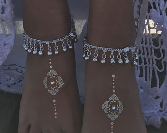Silver Bell indian anklet payal bellydancer Bollywood jewellery