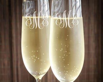 Fancy Script Monogram Engraved Wedding Toasting Flutes - JM4873226