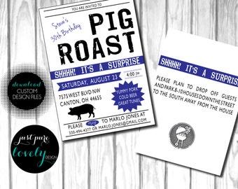 Pig Roast Birthday Invitation | 30th Birthday | Printable | Surprise