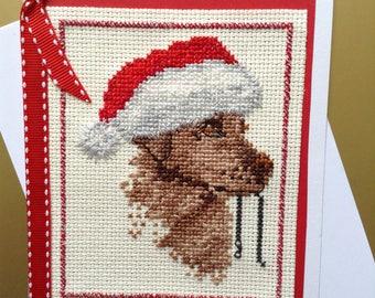 Cross Stitch Card, Christmas Card, Dog Card, Embroidered Card, Stitched Card, Blank Card, Red Card, Brown Card, Card with Ribbon, 5 X 7 Card