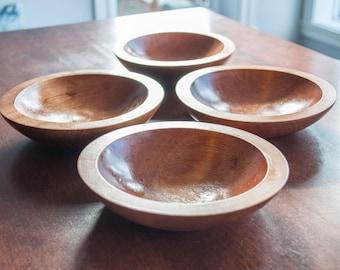 4 Vintage Baribocraft Salad Bowl Set color honey, Canadian Made, Mid Century Modern Dining