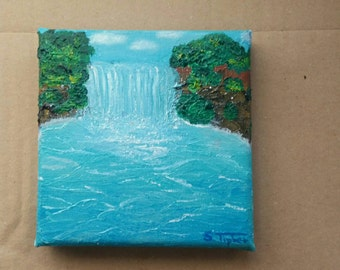 """Original mini oil painting """"tropical beauty"""" 10 x 10 cm waterfall in the nature of a tropical waters"""