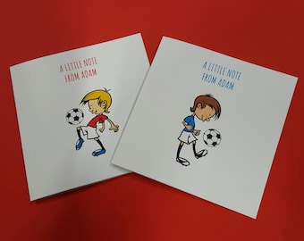 Personalised football note cards