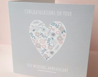 Floral Heart Card. Wedding, anniversary, engagement.Personalised