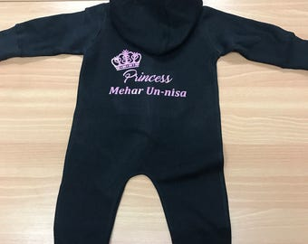 Personalised Babies Children Fullsuit hoodies Onesies Princess Prince