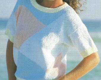 Ladies Colour Block Short Sleeved Sweater Knitting Pattern.
