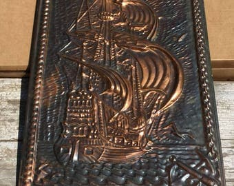 Soviet Vintage stamping Ship, made in the USSR in 1980 The picture Metal Wall Art