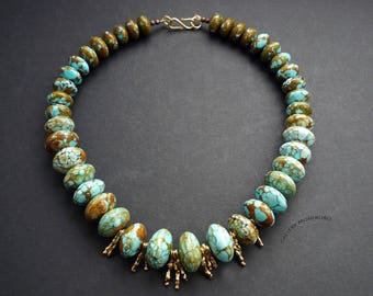 Necklace; mosaic turquoise combined with fine silver vermeil beads.