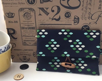 Navy and Green Phone Case Wristlet