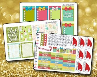 Classic Christmas Weekly Sticker Kit - Vertical Planner Stickers Erin Condren Life Planner  ECLP